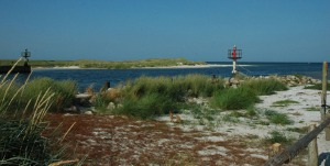 lichten Darsser Ort havenmond van strand